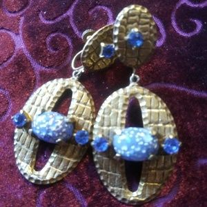 Brass Earrings Blue Stone Clip Ons
